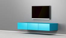 Wall Mounted Tv Cabinet And Big Lcd Tv