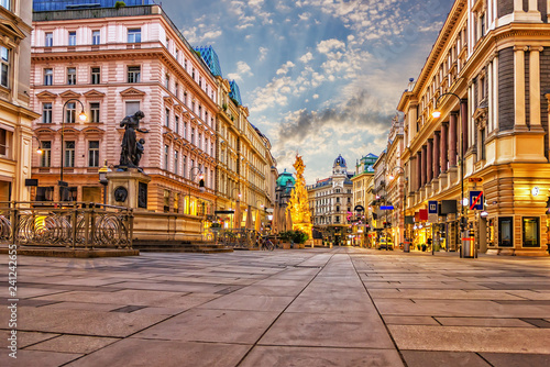 Graben, a famous Vienna street with the Plague Column and famous Wallpaper Mural
