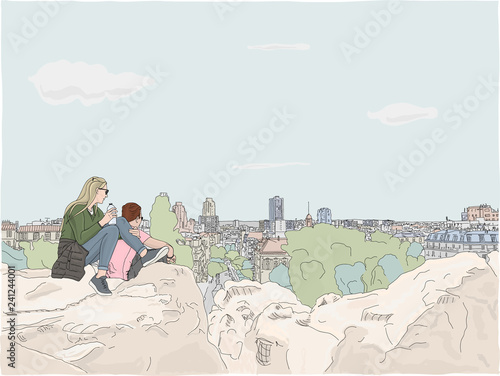 Photo  In Paris, a young couple climbs to the top of the hill in Parc des Buttes Chaumont, to view the cityscape from above, Hand drawn illustration
