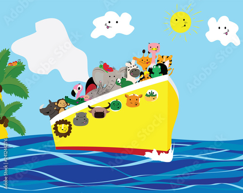 Summer trip on the ship. African animals. Cartoon style.