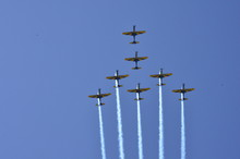 Brazilian Smoke Squadron Doing Aerobatics On Airshow