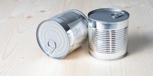 Tin Cans For Food On White Woo...
