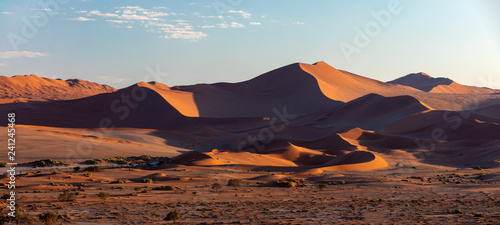 beautiful evening colors of hidden Dead Vlei landscape in Namib desert, dead acacia trees in valley with blue sky, Namibia