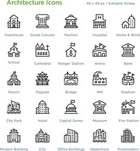 Architecture Icons - Outline Styled Icons, Designed To 48 X 48 Pixel Grid. Editable Stroke.