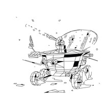 Contour Illustration Of A Moon Rover. Vector. Flat Outline Style. Soviet Lunar Rover Investigator Of The Moon. Low Poly Technique. Vintage Illustration For Poster And Site. Researcher.