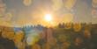 Hintergrund mit Bokeh und Sonnenuntergang in Bergen