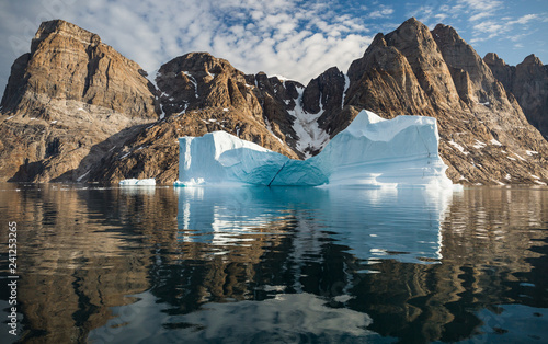 Foto op Plexiglas Arctica arctic landscape with icebergs among east Greenland fjords
