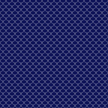 Fish Scales Seamless Pattern - Navy Blue And White Fish Scales Or Scallops Design