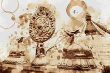 Boudhanath Pagoda, Nepal. Digital Art Coffee Stain Panting.