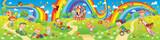 Kids zone. Amusement park rides. Children playing in playground