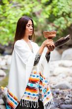 Native American Woman Making A Ritual