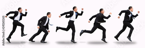 Fototapeta young business man running and isolated on white obraz na płótnie