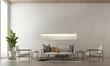 Leinwanddruck Bild - Modern loft living room interior design and concrete texture wall pattern background