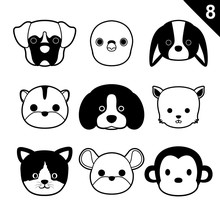 Flat Animal Faces Monochrome Icon Cartoon Vector Set 8 (Pet)