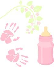 Little Lady Baby Shower Related Items Collection. Newborn Set. Baby Girl Elements, Handprint, Baby Nursing Bottle. Raster Pink Scrapbook Decor, Greeting Birthday Postcard.