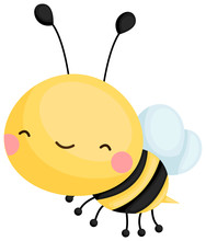 A Cute Flying Yellow Bee Smili...