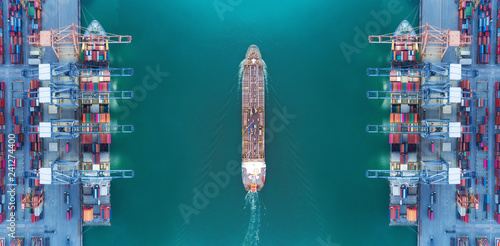 Aerial view panoramic oil tanker moving pass sea port warehouse and container ship or crane ship working for delivery containers shipment Canvas Print