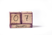 Colorful Wooden Block Perpetual Calendar Showing January 7th