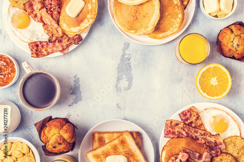 Fototapeta  Healthy Full American Breakfast with Eggs Bacon Pancakes and Latkes
