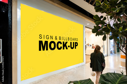 Fotomural Mock up large billboard at front of showroom in mall