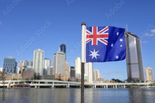 Foto op Plexiglas Oceanië The Australian flag against Brisbane city Queensland Australia
