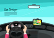 Car Interior Design with Hands on Steering Wheel and GPS Navigation - Vector