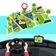 Hands on Steering Wheel with City Map in Car. Vector GPS Navigation Design.