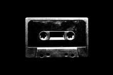 Audio Cassette Illustration On Black Background For Design.