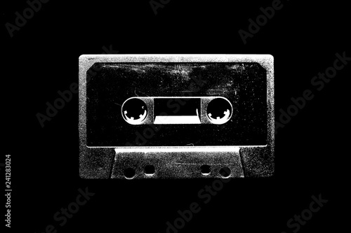 Audio cassette illustration on black background for design. Poster Mural XXL