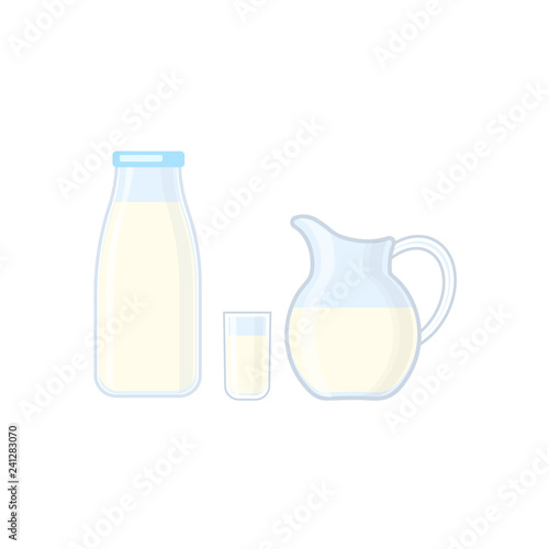 Fototapeta Bottle, glass and jug with milk vector illustration isolated on