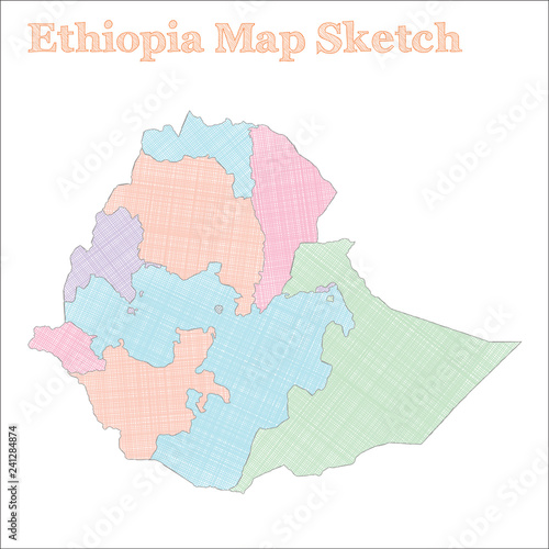 Ethiopia map  Hand-drawn country  Fascinating sketchy