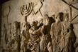 Leinwanddruck Bild - Wall relief on arch of titus depicting Menorah taken from temple in Jerusalem in 70 AD - Israel history, Jewish war