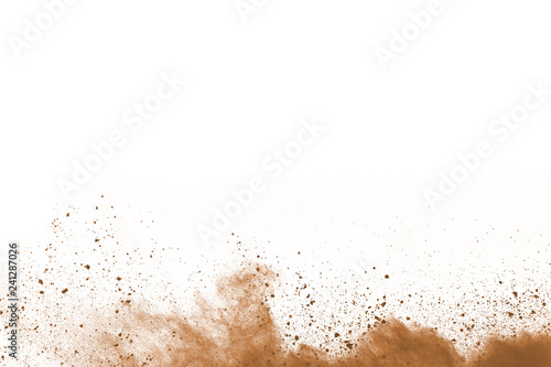 Photographie Brown color powder explosion on white background