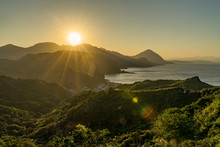 Sunset At Landscape View Of Mountains East Coast Of Taiwan Bitou Lighthouse Cape