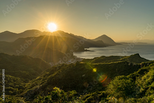 Fotografie, Obraz  Sunset at landscape View of mountains east coast of Taiwan Bitou Lighthouse Cape