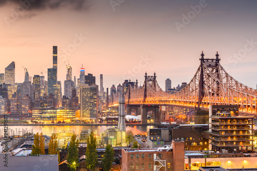 New York, New York, USA Manhattan skyline with the Queensboro Bridge Wallpaper Mural