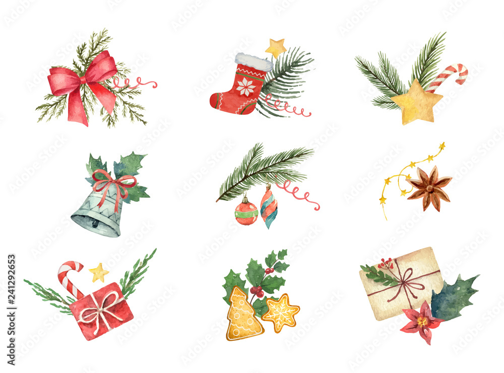 Fototapeta Watercolor vector set with Christmas elements isolated on white background.