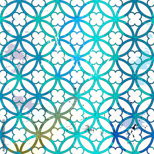 seamless abstract geometric pattern background, with circles, quatrefoil, strokes and splashes