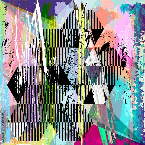abstract geometric background pattern, with triangles, stripes, strokes and splashes