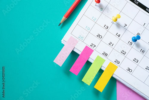 Obraz close up of calendar on the table, planning for business meeting or travel planning concept - fototapety do salonu