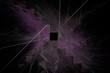 canvas print picture Farbiger Grafikhintergrund mit Quadrat in der Mitte - schwarz/violett
