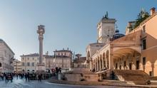 Beautiful View Of Piazza Libertà With The Carrara Fountain, Udine, Friuli Venezia Giulia, Italy