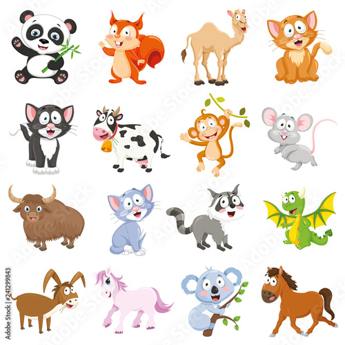 Wall Murals Cats Vector Illustration Of Cartoon Animals Collection