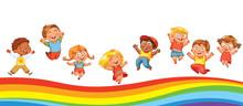 Kids Jumping On A Rainbow, Lik...