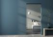 Leinwanddruck Bild - Modern bedroom interior and blue wall
