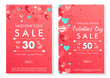 Valentines Day special offer banners with different hearts.Sale flyers templates perfect for prints, flyers, banners, promotions, special offers and more. Vector Valentines Day promotions.