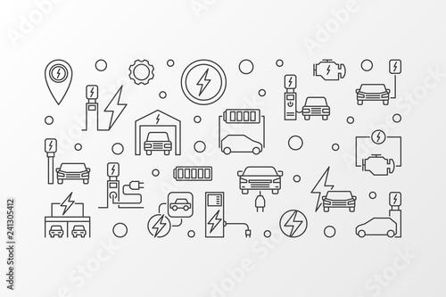 Obraz na płótnie EV charging station vector outline illustration