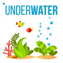 Underwater World Vector. Bottom, Fish, Seaweed, Bubbles. Isolated Flat Cartoon Illustration