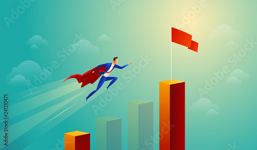 Super businessman in red jump bar chart flying to goal Wallpaper Mural