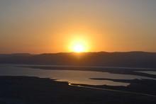 Beautiful Sunrise Over Masada Fortress. Ruins Of King Herod's Palace In Judean Desert, Israel